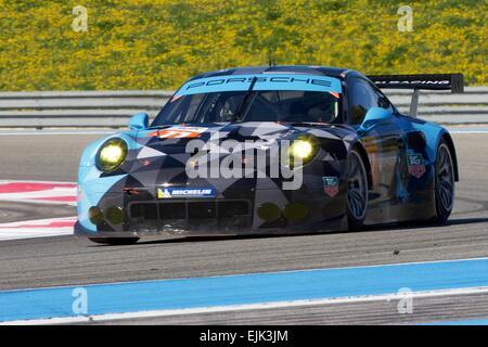 Le Castellet, France. 28th Mar, 2015. World Endurance Championship Prologue Day 2. Dempsey-Proton Racing Porsche - Stock Photo