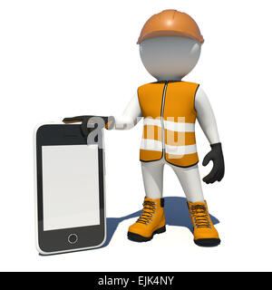 Worker in overalls holding smart phone with empty screen. Isolated - Stock Photo