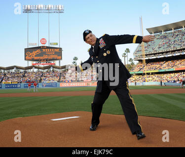 Gen. Raymond T. Odierno, chief of staff of the U.S. Army, throws a ceremonial first pitch at Dodger Stadium June - Stock Photo
