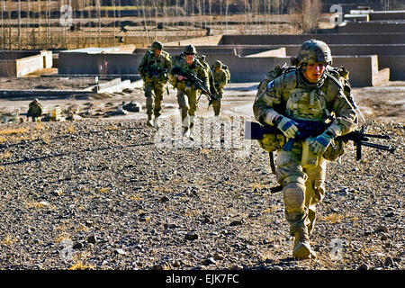 Soldiers assigned to Company C, 2nd Battalion, 30th Infantry Regiment, 4th Brigade Combat Team, 10th Mountain Division, - Stock Photo