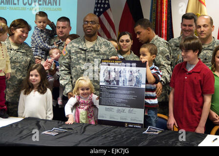 From left, U.S. Army Brig. Gen. Susan S. Lawrence, Command Sgt. Maj. Roderick D. Johnson, Lt. Col. David W. Astin - Stock Photo