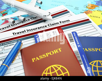 Travel insurance application form, passport and airplane on the map. 3d - Stock Photo