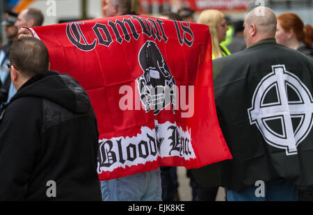 Manchester, UK 28th March, 2015. Combat 18 red banner; Demonstrators at the National Front and White Pride Demo - Stock Photo