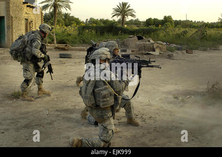 U.S. Army Soldiers of Bravo Troop, 5th Squadron, 73rd Cavalry Regiment, 3rd Brigade Combat Team, 82nd Airborne Division - Stock Photo