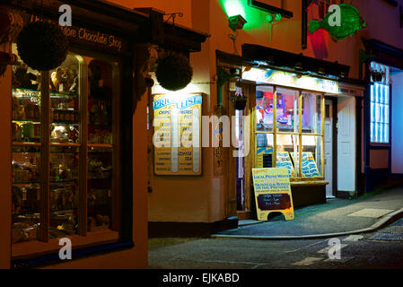 Fish and chip shop at night, Appledore, Devon, England uk - Stock Photo