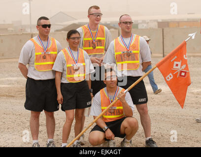 3rd place. FORWARD OPERATING BASE FALCON, Iraq  The 3rd place team, Company B, 1st Special Troops Battalion, 1st - Stock Photo