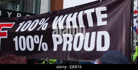 Manchester, UK 28th March, 2015. Combined National Front neo-nazi rally & 100% White Pride Demo in Piccadilly.  - Stock Photo