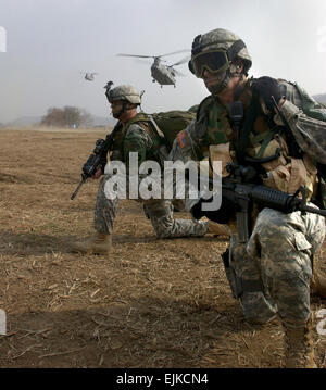 U.S. Army Command Sgt. Maj. Daniel Ciarrochi and Sgt. 1st Class James Breakfield, Security Battalion Joint Security - Stock Photo
