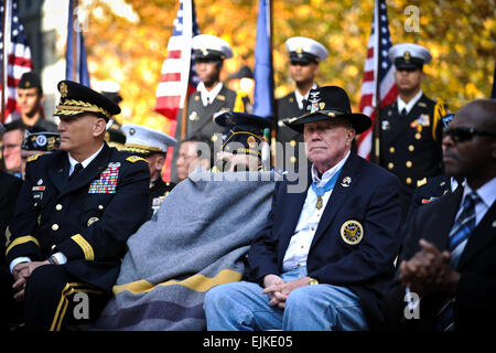 Retired Army Col. Bruce P. Crandall, right, and Nicholas Oresko, center, both recipients of the Medal of Honor, attend Veterans Day activities at Madison Square Park in New York City, New York honoring war veterans Nov. 11, 2011.  Oresko is the oldest living Medal of Honor recipient.  Staff Sgt. Teddy Wade