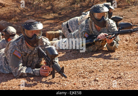 U.S. Army Sgt. Alan Burke, Private David Prater, Sgt. Chris McNinch, and Spc. Walter Nichols, all with the Michigan - Stock Photo