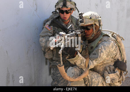 Soldiers of 141st Infantry Battalion, 3rd Infantry Brigade Combat Team, 1st Armored Division, out of Fort Bliss, - Stock Photo