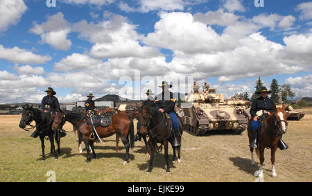 Members of the 89th Montana Cavalry Regiment, Montana Army National Guard prepare to participate in a battle streamer - Stock Photo