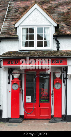 Red Pump Garage. Great Missenden, Buckinghamshire, England. Inspiration for the garage in Danny, The Champion of - Stock Photo