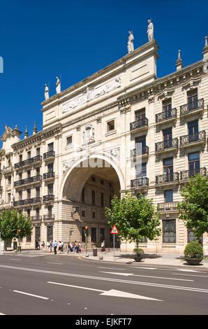 BANCO SANTANDER BUILDING FROM PEREDA GARDENS PASEO DE PEREDA SANTANDER CANTABRIA SPAIN - Stock Photo