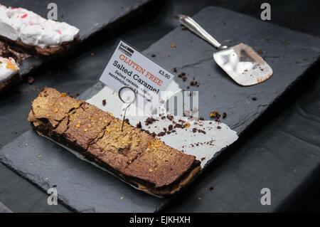 handmade salted caramel, gluten free brownie - Stock Photo