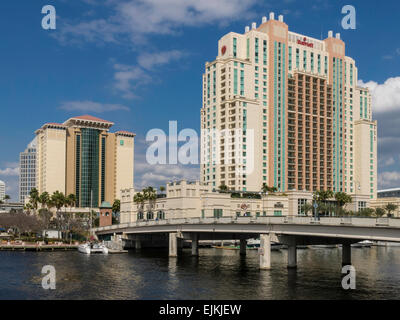Downtown Marriott Hotel in Tampa Skyline , Bridge to Harbour Island and Hillsborough River, Tampa, FL - Stock Photo