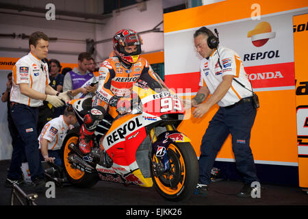 Losail Circuit, Qatar 28th March 2015, Marc Marquez leaving his Repsol Honda garage during qualifying for the start - Stock Photo