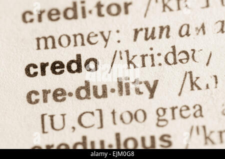 Definition of word credo in dictionary - Stock Photo