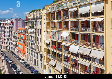 View of colorful apartment buildings in Nice, France. - Stock Photo