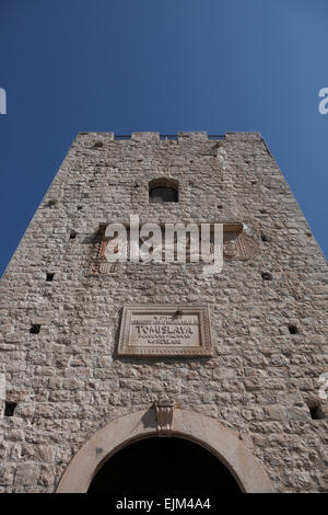 Detail of Revelin Tower and Land Gate Korcula Old Town Croatia with Venetian lion symbol - Stock Photo