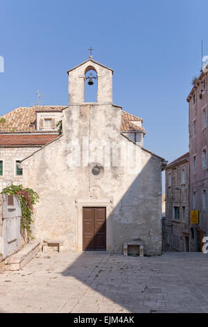 St Peter's Sveti Petar - This small Gothic church,  14th century chapel,  on the small square next to Korcula Cathedral - Stock Photo