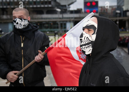 Manchester, UK 28th March, 2015. Combined National Front and White Pride Demo in Piccadilly.  Arrest made as Far - Stock Photo