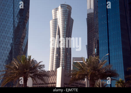 The Qatar International Islamic Bank Tower in the city of Doha, in the Middle Eastern Gulf nation of Qatar. - Stock Photo