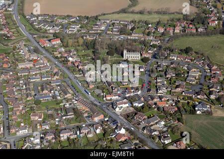 aerial view of Skirlaugh village near Hull, East Yorkshire, UK - Stock Photo