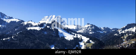 Mount Moleson in the pre-Alps near the village of Gruyeres - Stock Photo