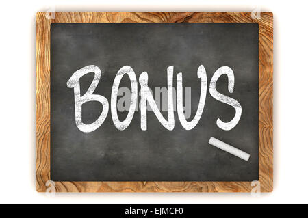 A Colourful 3d Rendered Blackboard Illustration Showing 'Bonus' - Stock Photo
