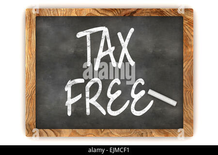 A Colourful 3d Rendered Blackboard Illustration Showing 'Tax Free' - Stock Photo
