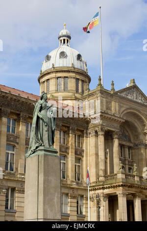 Birmingham City Council House and Queen Vitoria statue, Victoria Square, Birmingham, England, UK. - Stock Photo