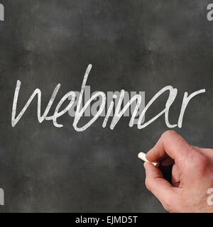 A Colourful 3d Rendered Concept Illustration showing Webinar written on a Blackboard - Stock Photo
