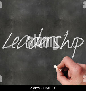A Colourful 3d Rendered Concept Illustration showing Leadership written on a Blackboard - Stock Photo