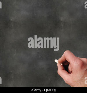 A Colourful 3d Rendered Concept Illustration showing a hand writing on a blank blackboard - Stock Photo