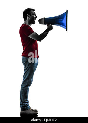 one man with megaphone silhouette isolated in white background - Stock Photo