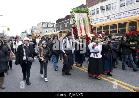 Mexicans carry religious shrines devoted to the Madonna at Festival of the Virgin of Guadalupe in Boro Park, Brooklyn, - Stock Photo