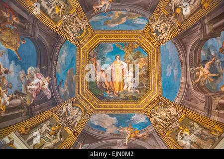 Ceiling fresco, Apollo and the Muses by Tommaso Conca, 1782-1787, Sala delle Muse, room of the Muses, Vatican Museums, - Stock Photo