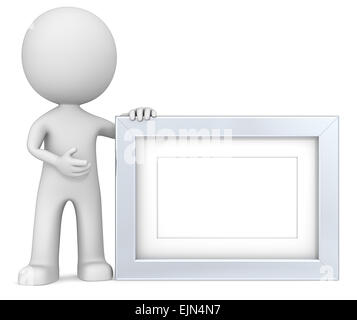 Steel Frame. The dude 3D character holdning Picture Frame. Metal, Copy Space. - Stock Photo
