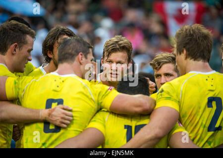 Hong Kong, China. 28th Mar, 2015. Australian Cameron Clark in team talk following match.New Zealand vs Australia. - Stock Photo