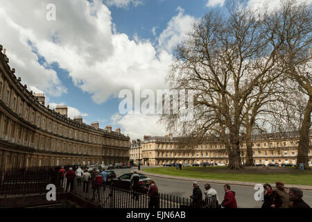Georgian facade of the terraced houses in The Circus, Bath, Somerset, England, Great Britain, United Kingdom. - Stock Photo