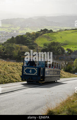 A tram on the Great Orme Tramway at Llandudno, Conwy, Wales, UK - Stock Photo