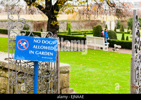 Two people walk three dogs in a garden where dogs are not permitted - Stock Photo