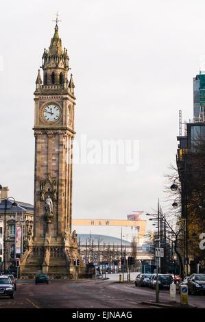 The Albert Memorial Clock, Belfast, which has a noticable tilt. - Stock Photo