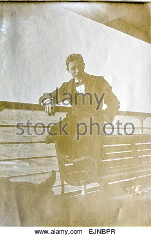 young adult male person on a passenger ship, 1915 - Stock Photo