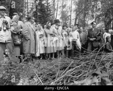 The Queen (centre) seen here with Princess Margaret and members of the Swedish Royal family watching the action - Stock Photo