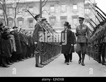 Prince of Wales (later King Edward VIII) inspecting Honourable Artillery Company Guard of Honour. 18th February - Stock Photo