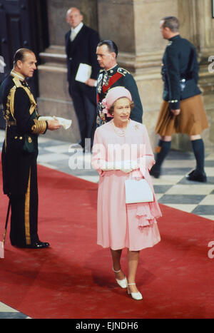 Queen Elizabeth II & Prince Philip arrive at St Pauls Cathedral, for Thanksgiving service, to celebrate HRH Silver - Stock Photo