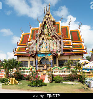 One of the modern and colourful Temples at Wat Plai Laem on Koh Samui - Stock Photo