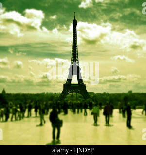the Eiffel Tower seen from the Jardins du Trocadero in Paris, France, with a retro effect - Stock Photo